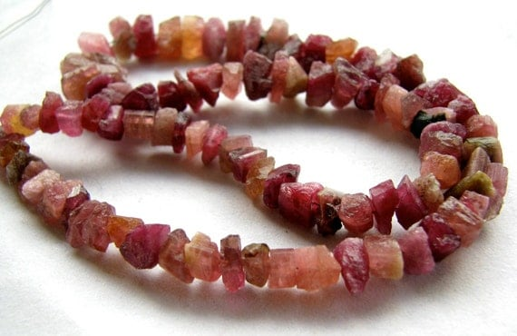 "Genuine Pink Tourmaline rough nuggets, 14"" inches (3w34a)"