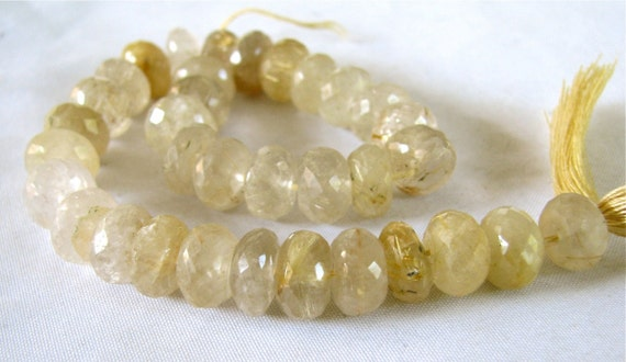 "Golden Rutilated Quartz LARGE faceted rondelles,  5"" strand strand 9-9.5mm (3w5)"