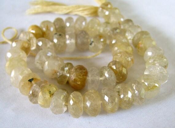 "Golden Rutilated Quartz LARGE faceted rondelles,  10"" FULL strand strand 9-9.5mm (3w5)"