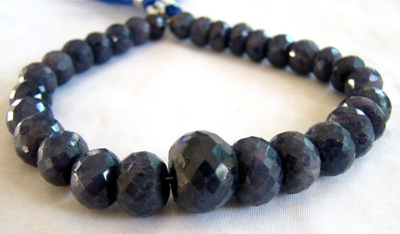 """Genuine Sapphire Faceted Rondelles, 7"""" FULL strand, LARGE Gemstone Beads 6.5mm - 12.5mm (3w108b)"""