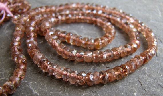 """RARE Pink Andalusite faceted rondelles, 14"""" strand, 3.5mm (5a13)"""