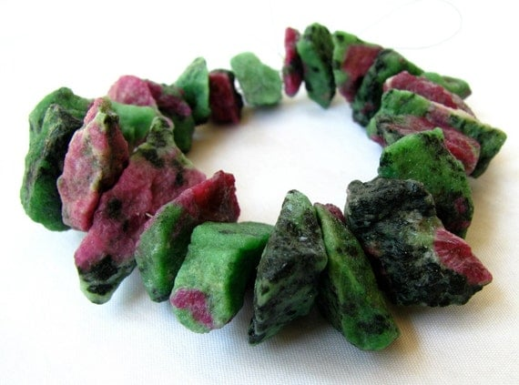 """EXCLUSIVE & AMAZING Ruby Zoisite Hammered Nuggets, 7.25"""" FULL strand, 460 Carats (6w18)"""