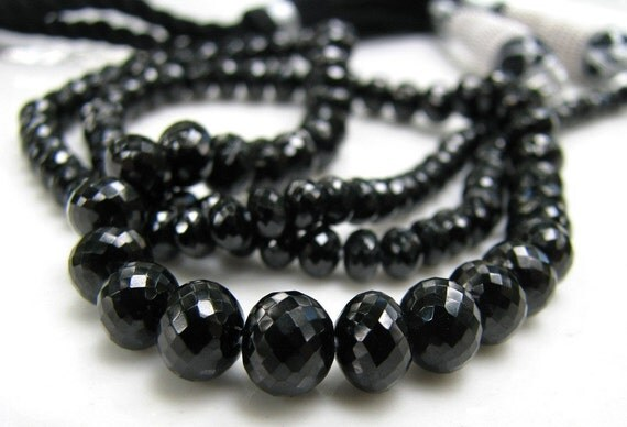 SALE AA PLUS Glossy Black Spinel micro faceted rondelles, 1/2 strand, 3-6mm WaS 35.00 (smr1)