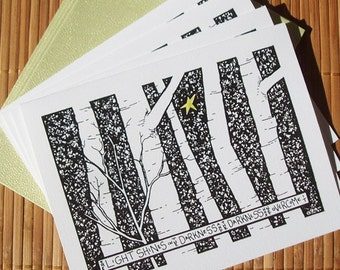 Birch Forest and Star Christmas cards - set of 4 blank holiday cards