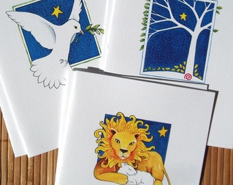 Peaceful Christmas Cards - set of 12 blank holiday cards