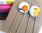 Bookmarks set with fabric covered button with birds
