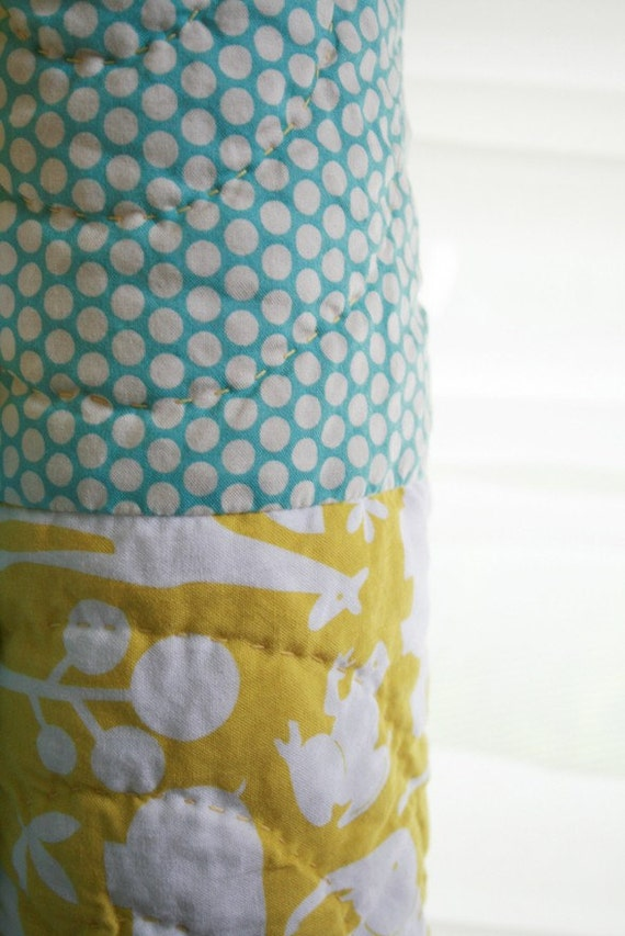 Baby Quilt with Organic Cotton Batting-Animals and Dots