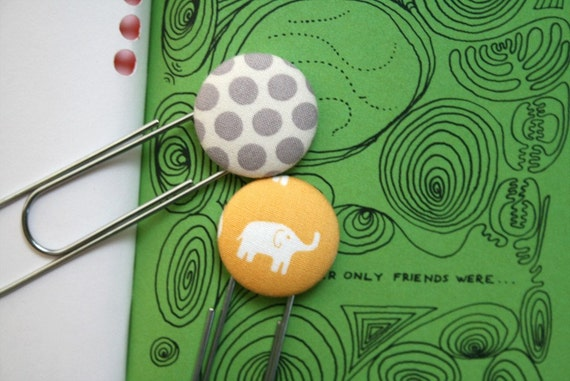 Bookmarks set with fabric covered button - elephant and dots