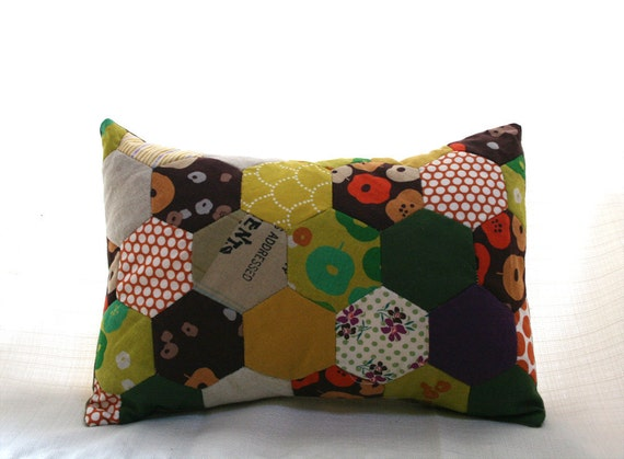 "Honeycomb Patchwork Throw Pillow with Insert included 10"" x 14"""