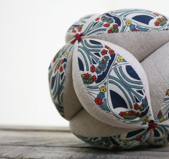 Reserved for Tiffany -- Sensory Ball for Baby with Linen and Liberty London Cotton Print