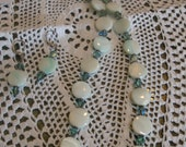 Necklace and Earring Set.  Tahitian Abalone Shell and Swarovski crystals.  SALE