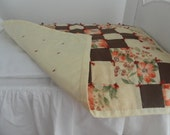 American Girl Doll Quilt - Old Fashion - Patchwork - Orange Blossoms and Buds - American Girl Doll Accessories - 9004