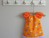 Every Day Dress - Vintage Purple and Orange Chickens