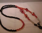 Black, Red and Silver Beaded Eyeglass Holder