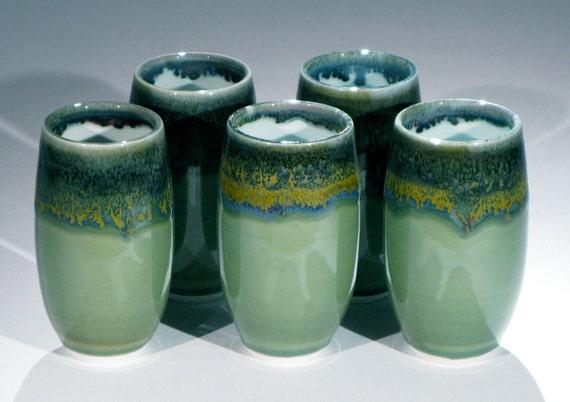 Porcelain Cup Set with Green Celadon Glaze