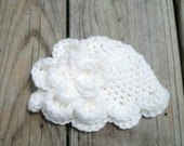 Crocheted  Beanie Hat White With White Flower sizes Newborn-12 Months  Photo Prop Baby Girl