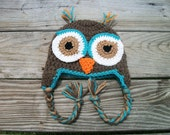 Crochet Owl Hat Earflaps Brown/Blue/Orangewith braids in Sizes Newborn to Adult Applique Eyes Boy Girl
