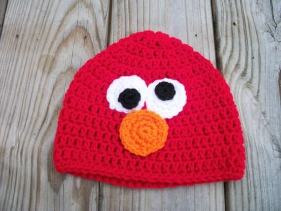 Crocheted Elmo Inspired Beanie  Hat Photo Prop Newborn-Adult boy or girl