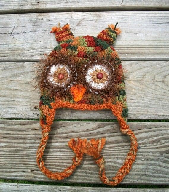 Crochet Owl Earflap Hat Brown Green Rust Red Orange size Newborn-Adult Photo Prop Costume