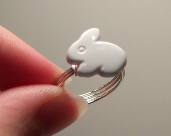 White Bunny Rabbit Wire Wrapped Button Ring - Custom Sizing