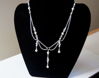 Maiden Necklace - Swarovski Crystal and Pearl Draped Necklace