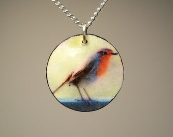 European Robin Photo Pendant with Silver Chain- Courage