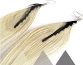 Peacock Feather Earrings in Ivory & Black Geometric Earrings Ivory Feather Geometric Jewelry
