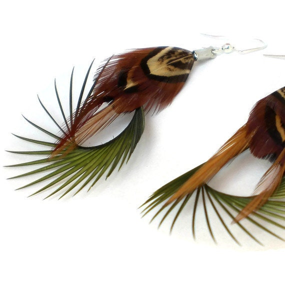 """Handmade Feather Earrings Bohemian Brown and Green Natural """"Tree Hugger"""""""