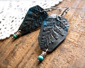 the fern collector earrings in bronze blue black patina relics sterling silver ear wire