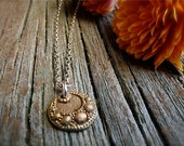 charming old world necklace mixed metal : hand crafted golden bronze pendant and sterling silver chain