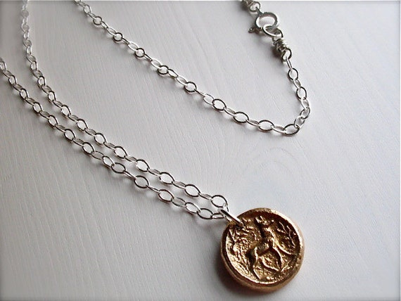 deer necklace : botanical nature vintage style . handcrafted bronze pendant, sterling silver chain .