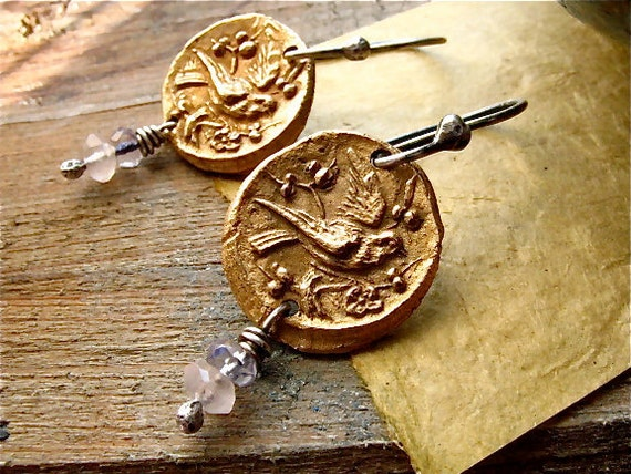 fleeting sparrow earrings : botanical, nature jewelry . handcrafted bronze,  gemstones, sterling silver