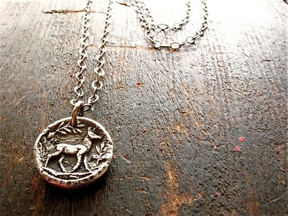 silver deer necklace : nature, rustic botanical . handmade pure silver pendant, sterling silver chain