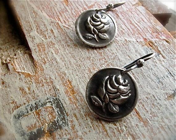silver rose earrings : wax seal jewelry, botanical jewelry . handmade artisan
