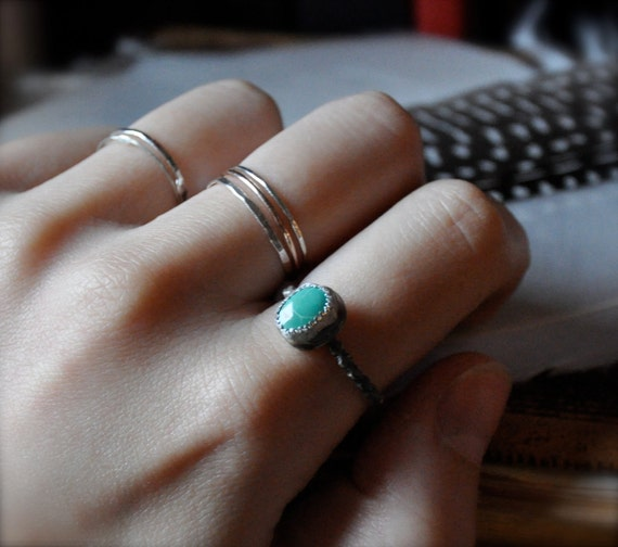 Royston Turquoise Silver Dot Stacker Ring