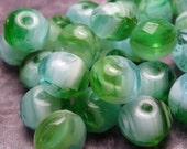 Aqua and Green Glass Beads 4x6mm - 10pc