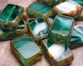 Teal Swirl Glass Rectangular Beads 12mm - 6pc