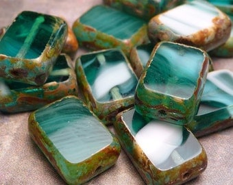 Teal Swirl Glass Rectangular Beads 12mm - 6pc