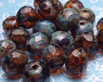 Picasso Faceted Rondelle Glass Beads 5x6mm - 10pc