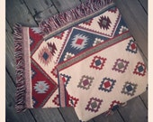 Beautiful Pair of Vintage 80s Bright Southwestern Print Throw Blankets with Fringe