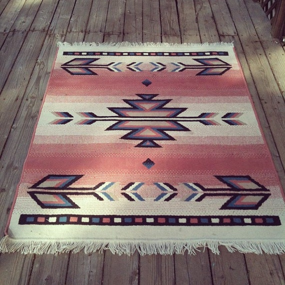 Vintage Pink Southwest Navajo Inspired Print Wool By