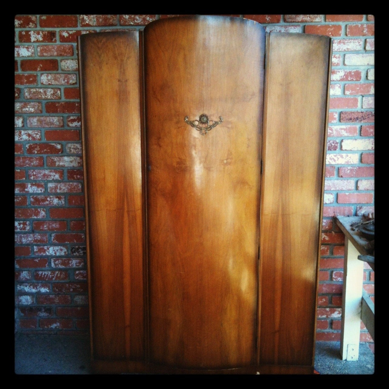1940s art deco waterfall armoire cabinet. Black Bedroom Furniture Sets. Home Design Ideas