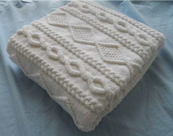 RESERVED for Jennifer StMartin, Chunky Hand Knit Blanket, White 50x60