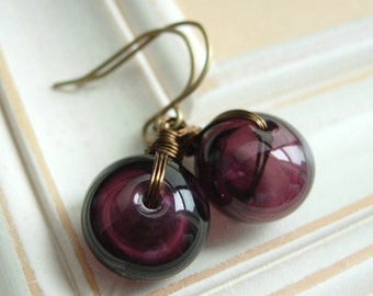 Blown Glass Earrings, Wire Wrapped Artisan Made Dark Purple Glass Beads.  Grape.