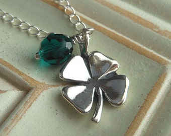 Four Leaf Clover Necklace, Sterling Silver Charm Emerald Swarovski Crystals St. Patricks Day.  Luck.