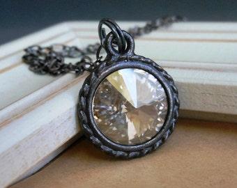 Long Necklace, Swarvoski Crystal Rivoli Pendant and Gunmetal Plated Chain Silver Black Gray.  Looking Glass.
