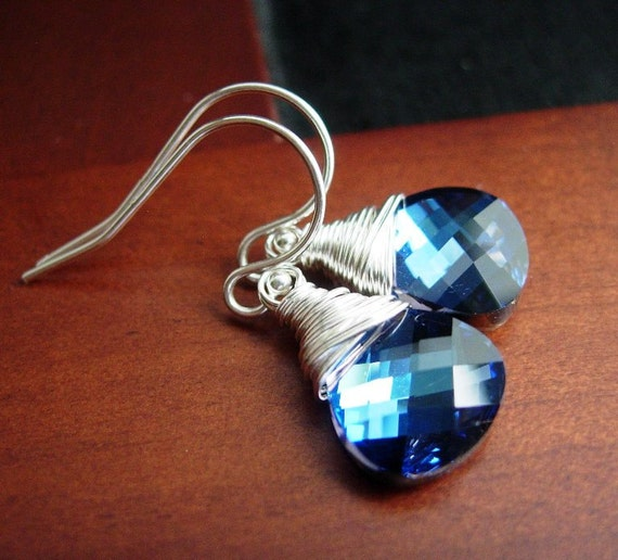 SALE Blue Crystal Earrings, Wire Wrapped Swarvoski Mali Blue Flat Briolettes.  Perfect Day.