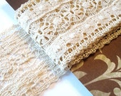 Antique Cotton Crochet Hand Tatted Lace - 2 Yards
