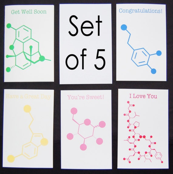 Set of 5 Chemistry Nerd Greeting Cards - 5% Discount