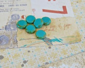premium turquoise coin czech glass bead : TIDE POOL .. 6 beads